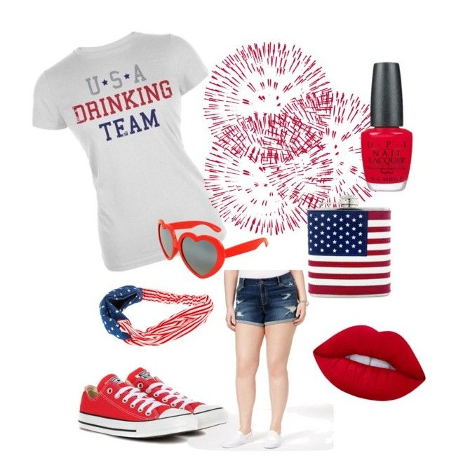 """USA Drinking Team"" by hannah-taylor-black on Polyvore featuring polyvore, fashion, style, American Rag Cie, Converse, Lime Crime, OPI and clothing"