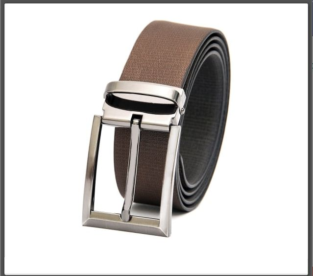 Quality Leather Black-Brown Reversible Formal Belt in fine Honeycomb Texture.