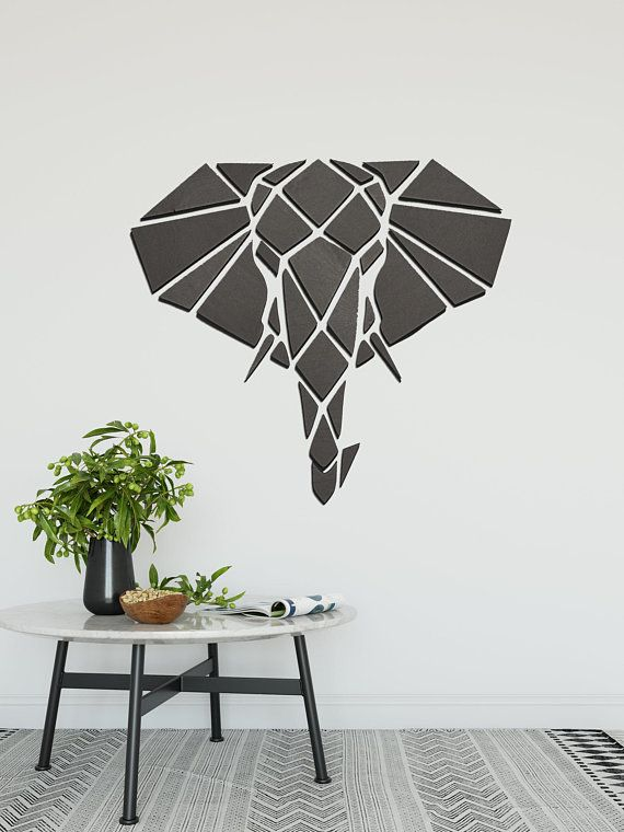 Geometric Wood Art Geometric Elephant Wall Decor Polygon Animal