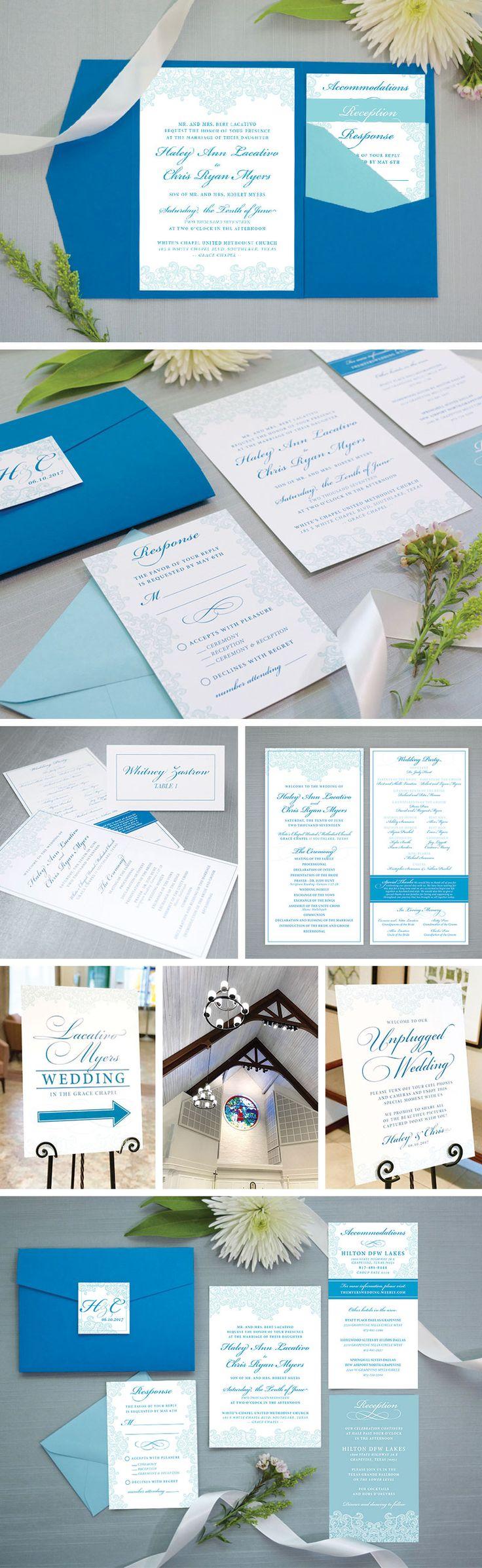 Elegant Lace Pocket Wedding Invitation Suite | Classic Wedding Invitations | Branded Weddings | Ceremony Signs | Unplugged Wedding | Custom Wedding Stationery