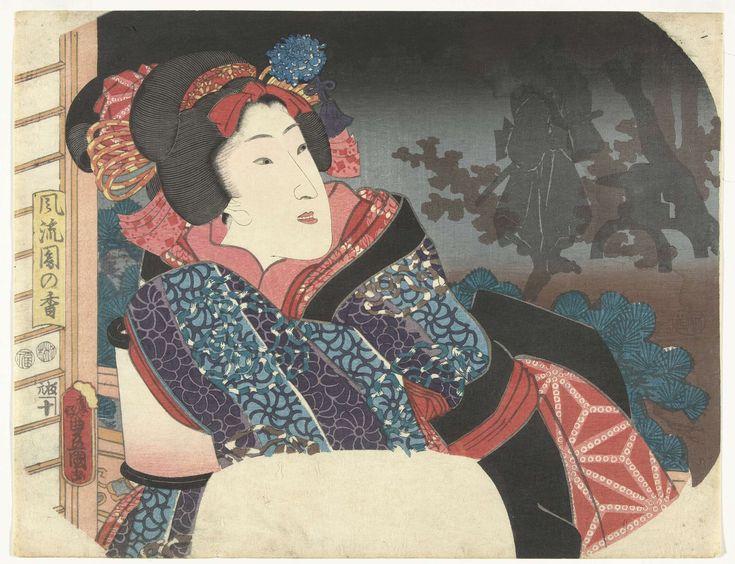 Kunisada (I) , Utagawa   Vrouw bedekt lantaarn met kimono, Kunisada (I) , Utagawa, 1852   Waaierprent. Vrouw, naar buiten kijkend, terwijl ze met de mouw van haar kimono een brandende lantaarn bedekt; in de donkere tuin het silhouet van een man met zwaard, staand bij een stenen lantaarn en boom.