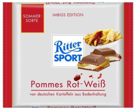 RITTER SPORT Fake Schokolade Pommes Rot-Weiß