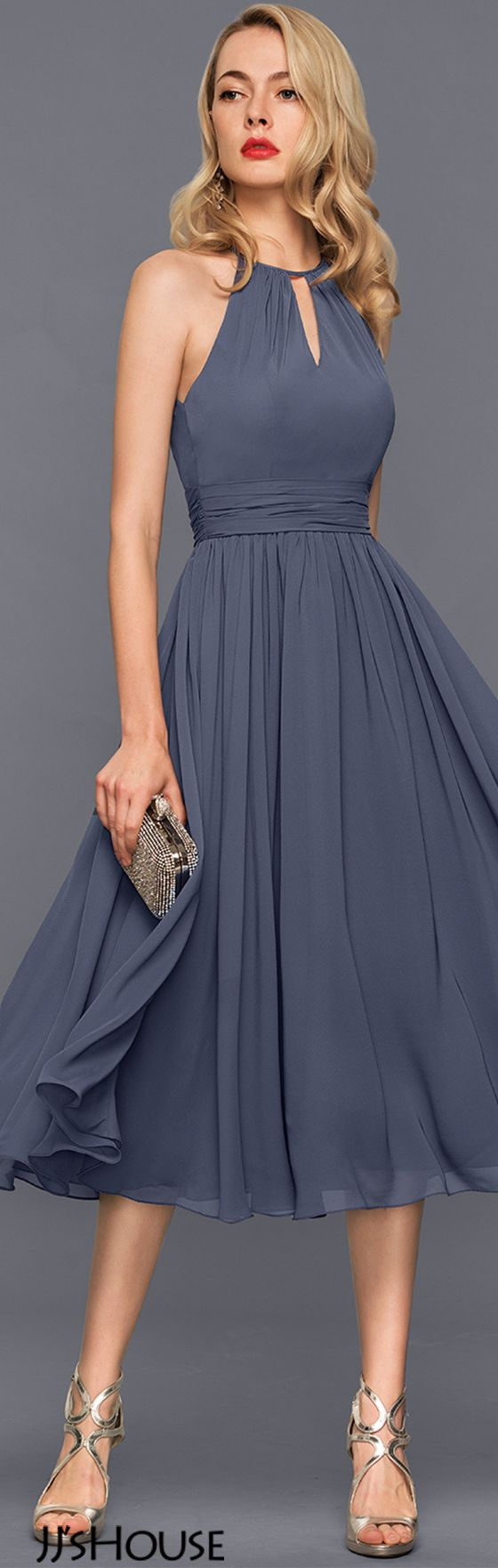 A-Line/Princess Scoop Neck Knee-Length Chiffon Cocktail Dress With Ruffle#JJsHouse #Cocktail dresses