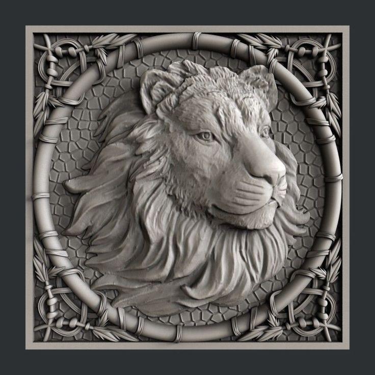 3d STL models for CNC, Artcam, Aspire, lion Скульптура