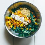 Roasted Golden Beetroot, Quinoa, Kale Salad with hazelnuts and zesty tahini dressing