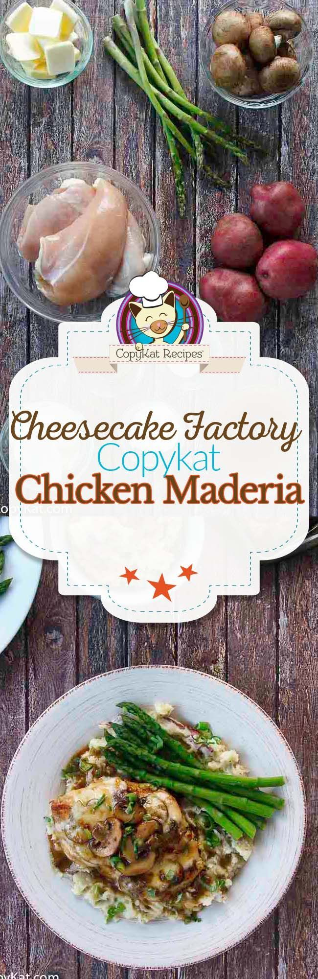 Try this easy copycat recipe for the Cheesecake Factory Chicken Maderia, you are going to love this chicken recipe.