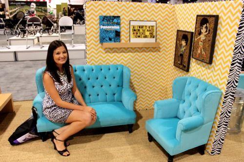 Aqua Jennifer Delonge toddler sofa. #aqua #baby #nursery #furniture