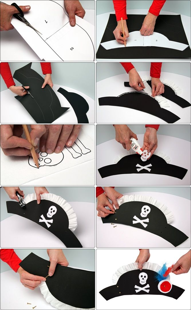 diy pirate hat crafts kids halloween costume tutorial paper -Repinned by Totetude.com