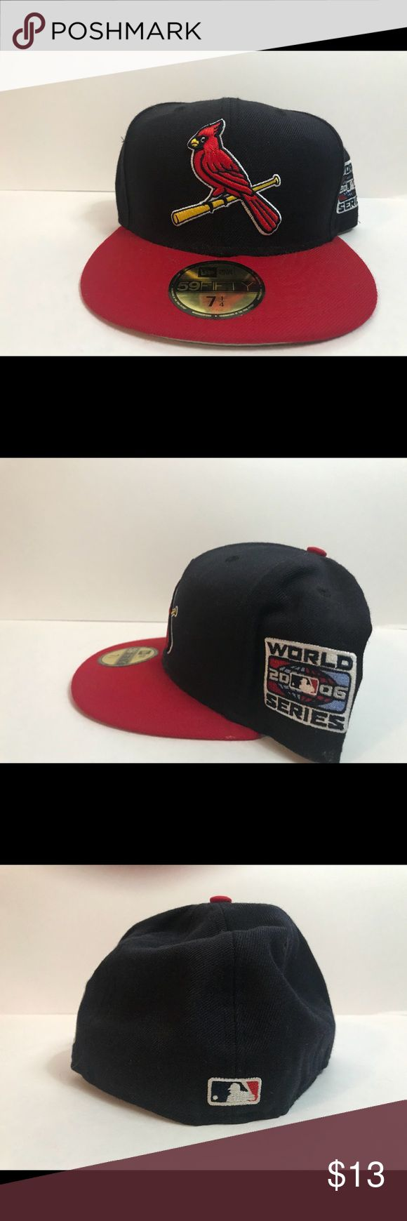 2006 World Series patch cardinals new era fitted STL cardinals World Series patch 2006 Navy blue and red Worn  100% authentic  New era size 7-1/4 New Era Accessories Hats