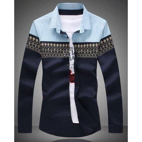Ethnic Print Splicing Turn-Down Collar Slimming Long Sleeve Shirt For Men