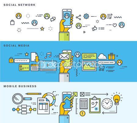 Набор тонкая линия плоский дизайн баннеров для социальной сети, социальные медиа, мобильный бизнес — Векторная картинка #79130364