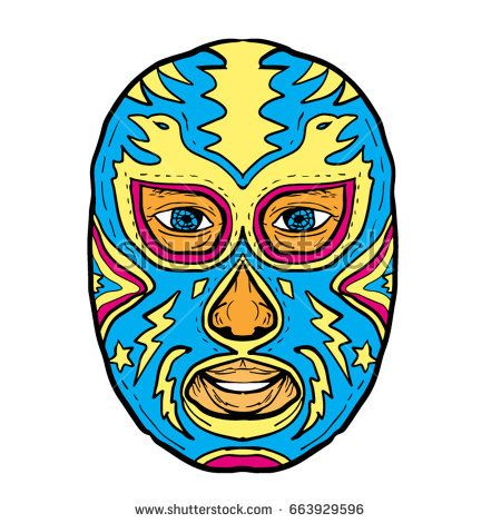 Illustration of a Luchador Mask with Eagle, Star and Lightning Bolt viewed from front done in Drawing hand-sketched style on isolated background  #luchador #sketch #illustration
