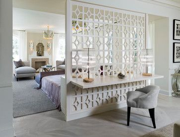 Beautiful room divider using lattice work. Bedroom Design Ideas, Pictures, Remodels and Decor.