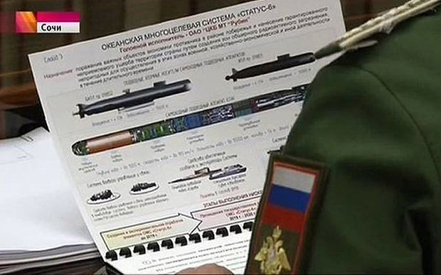 """The Kremlin says secret plans for a Russian long-range nuclear torpedo - called """"Status-6"""" - should not have appeared on Russian TV news. We are closer to a nuclear catastrophe now than at any time since the Cuban Missile Crisis in 1962. More evidence..."""