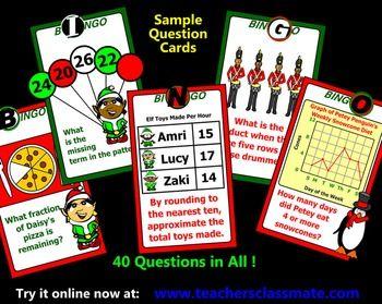 Christmas Bingo - Math - with Interactive Whiteboard Calle