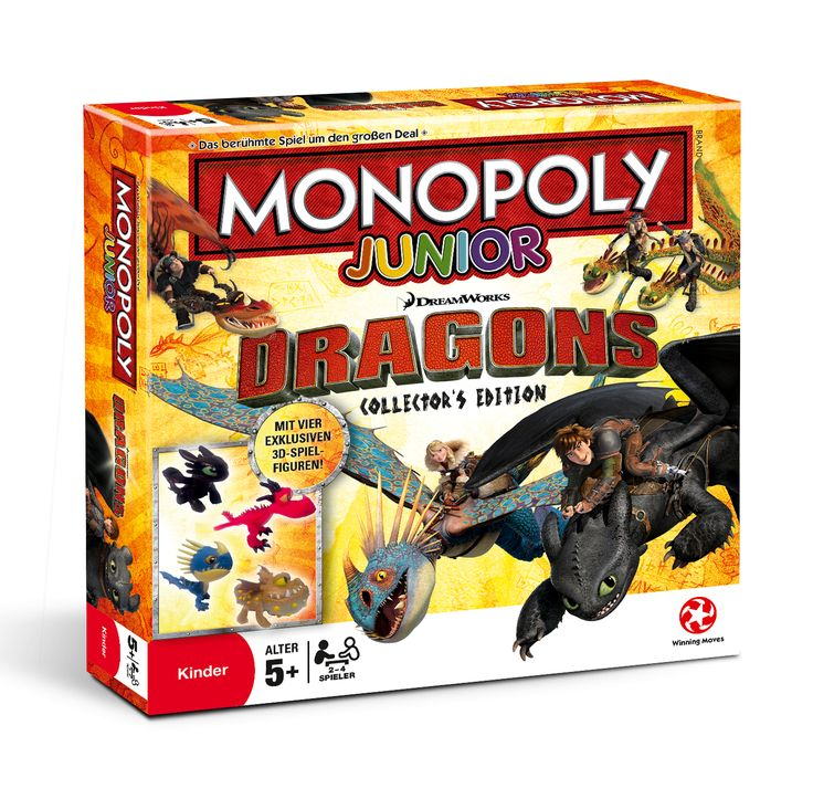 Monopoly Junior Dragons Collectors Edition - Verbringe einen aufregenden Tag mit den Drachenzähmern und den Drachen von Berk! Wähle eine der hochwertigen Drachenfiguren, fliege durch Berk und sammel andere Drachen-Karten ein. Baue Drachen-Trainings-Arenen und bezahle deine Freunde mit Schafen, die du im Schafstall sammelst. Folge den Drachen-Trainings-Tipps und habe einfach eine ganz tolle Zeit!