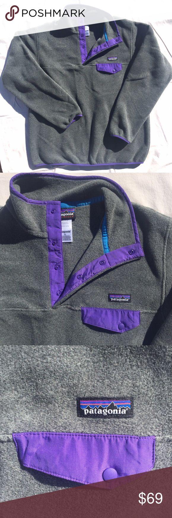 ✨NWOT✨ Patagonia Fleece NWOT | never worn | Women's Lightweight Synchilla Snap-T Fleece Pullover | gray fleece | purple details | electric blue inside ribbing Patagonia Tops Sweatshirts & Hoodies