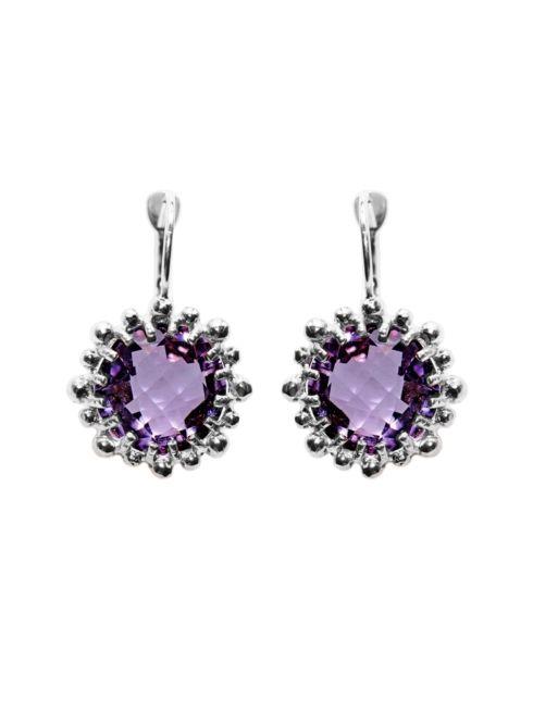 $275.00 Snowflake Earrings Amethyst & Silver