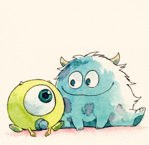 Caged Canary - Live the Fairytale #Disney #Monsters #Mike #Sulley #Pixar #Watercolour