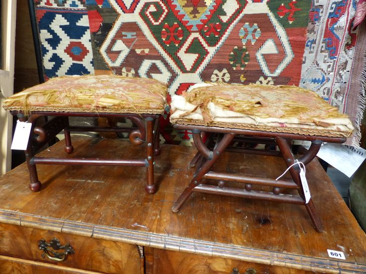 Lot 1599 - TWO AESTHETIC DESIGN LATE VICTORIAN FOOTSTOOLS