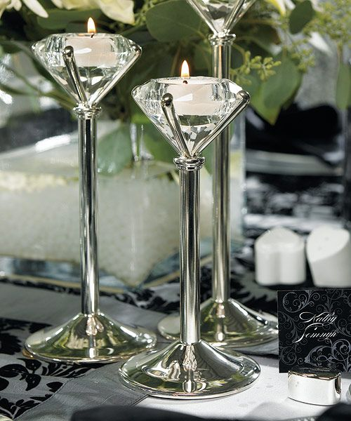 Silver Plated Diamond Shaped Tealight Holders Wedding Centerpieces