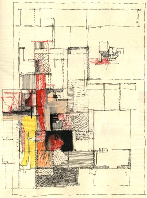 Estudio Teddy Cruz. Drawing for Casa Familiar: Living Rooms at the Border and Senior Housing with Childcare. San Ysidro, California.