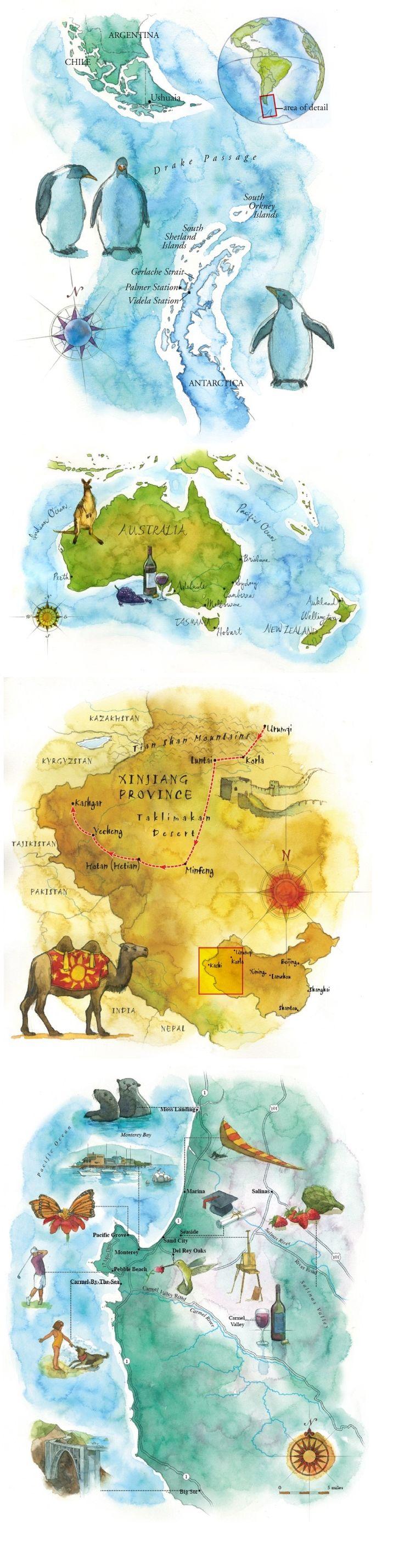 Watercolor maps