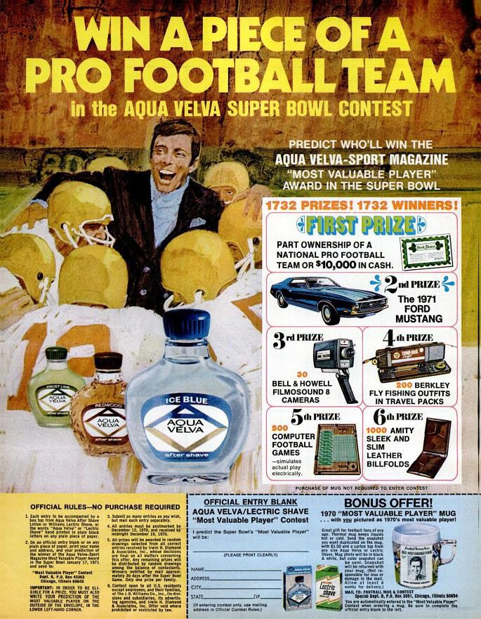 """""""Win a piece of a Pro Football team in the Aqua Velva Super Bowl Contest."""" 1970. #vintageads #Ads #vintage #PrintAd #tvads #advertising #BrandScience #influence #online #Facebook #submissions #marketing #advertising"""