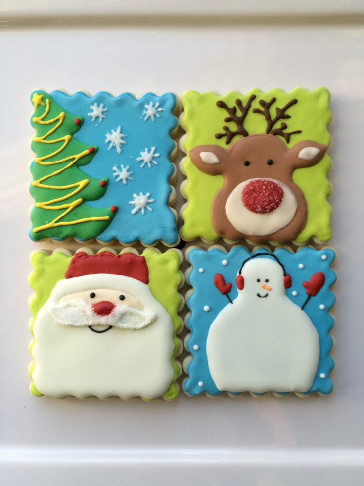decorated Christmas cookies - decorated sugar cookies - Santa, Rudolph, tree and snowman