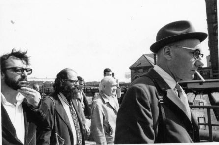 One bad-ass literary gang - Terry Southern,  William Burroughs, Allen Ginsberg and Jean Genet at the 1968 Democratic Convention in Chicago.
