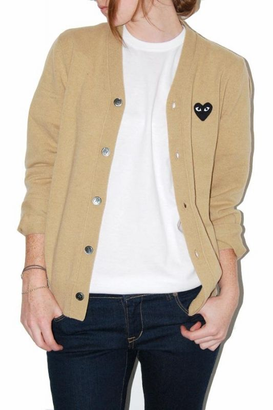 COMME DES GARÇONS PLAY BEIGE CARDIGAN. I FINALLY FOUND THIS BRAND!!
