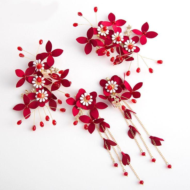 Rote Hochzeit Haarschmuck Crystal 2019 Bridal Headwear Elegante Vintage Hochzeit Zubehör Haarspangen und Ohrringe Haarteil