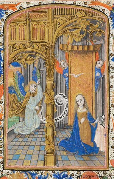 Book of Hours, MS S.1 fol. 15v - Images from Medieval and Renaissance Manuscripts - The Morgan Library & MuseumVirgin Mary: Annunciation -- Archangel Gabriel, holding scepter and scroll inscribed AVE GRACIA PLENA DOMINUS TECUM BENEDICTA in right hand, pointing upward with left hand, kneels on floor before Virgin Mary, with rays as nimbus, kneeling, turning from draped prie-dieu with open book with pseudo-inscription. Above her, dove of Holy Ghost descends on rays. Behind her, two angels…