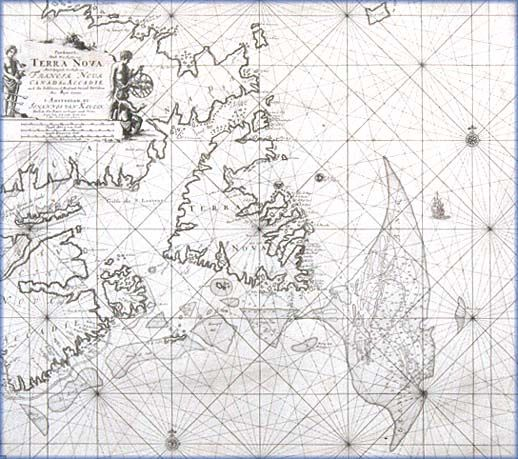Map of Newfoundland and eastern New France -  Prince Edward Island Museum --Newfoundland and eastern New France highlighting the fishing banks, ca. 1687 from The James W. MacNutt Collection of Historic Maps, Prince Edward Island Museum Number 94.84.4 via The Cod Rush The European Fishermen, 1497-1763