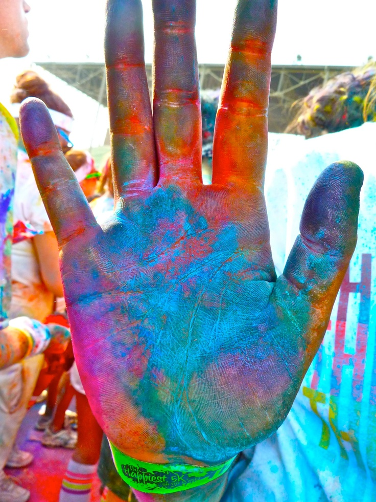 High five, Color Runners! thecolorrun paint run - who doesn't want to look like a tie dye explosion at the end of their 5k?