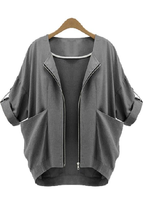 Dark Grey Plain Pockets Zipper Fashion Coat