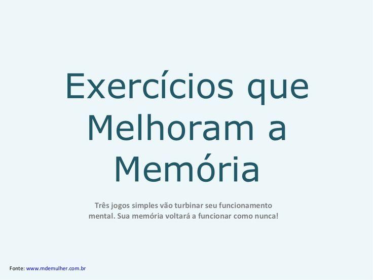 Exercícios Que Melhoram A Memória - patão by Patão Supermercado via slideshare