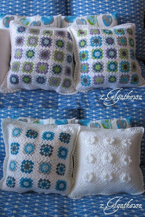 Crocheted pillow covers - Granny Squares Style