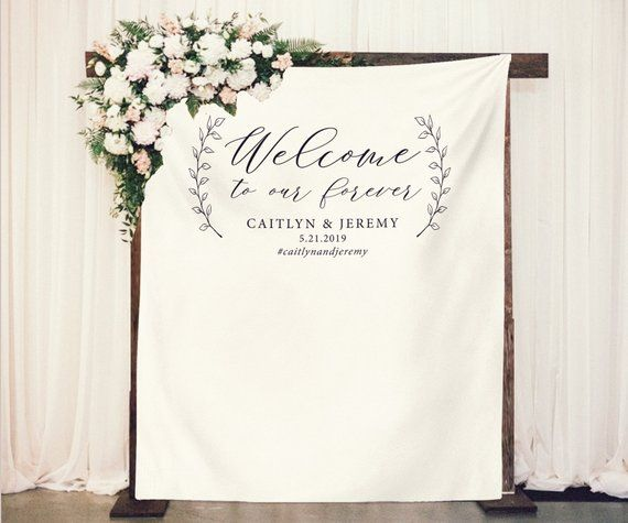Welcome To Our Forever Wedding Welcome Banner Reception Backdrop Custom Backdrop Calligraphy Backdrop Rust Wedding Banner Reception Backdrop Forever Wedding