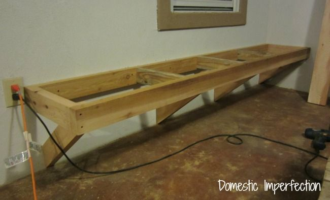 This would work well for a floating work bench also ... keeps everything off the floor :)