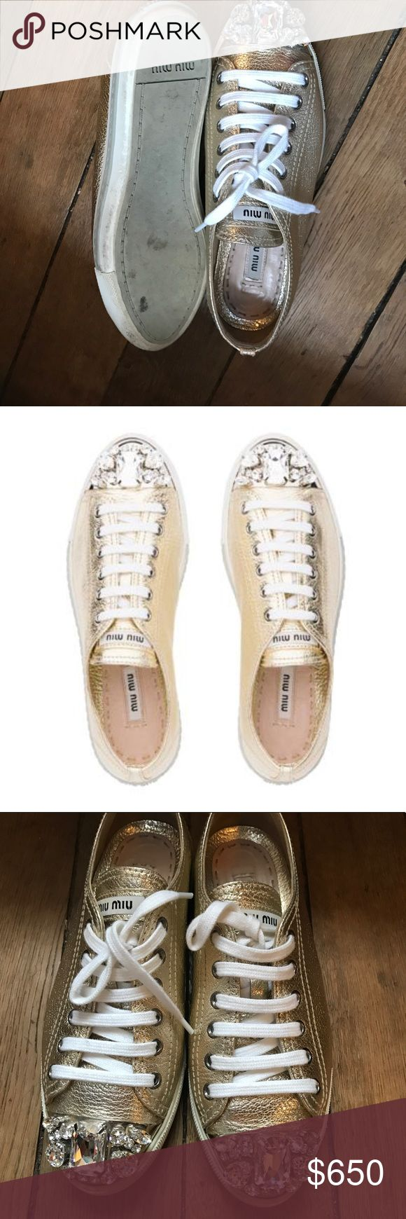 Gorgeous chic and comfortable snickers Beautiful glowing snickers that goes with everything! Cool look chic look or evening classic look , this shoes do the work!!!!  Only sale them because I bought small size 😟😖 So I couldn't wear them they are like new! Worn 2 times only Miu Miu Shoes Sneakers