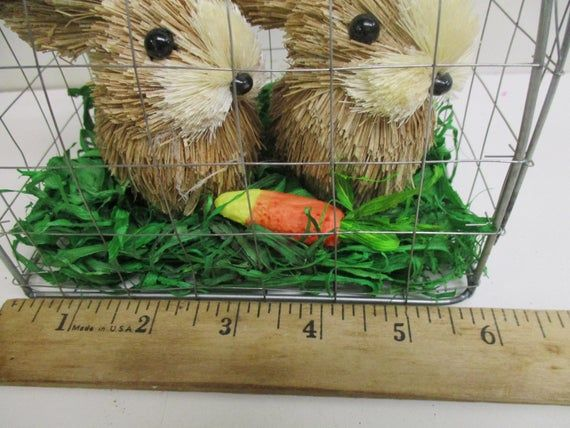Easter Decor Sisal Bunny Rabbit Pair in Wire Cage Grass Carrot – brown / white