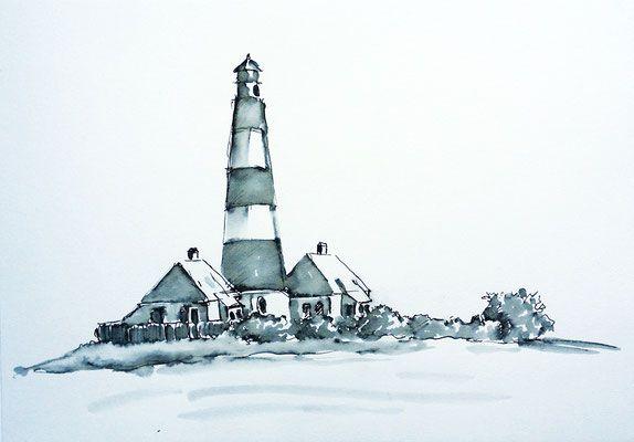 Leuchtturm Westerhever Sand. Das lockere Zeichnen mit dem Inkystift ist eine Methode um zügig das Wesentliche eines Motivs aufs Papier zu bringen. Durch das Lavieren mit Pinsel und Wasser wird die Zeichnung plastischer.