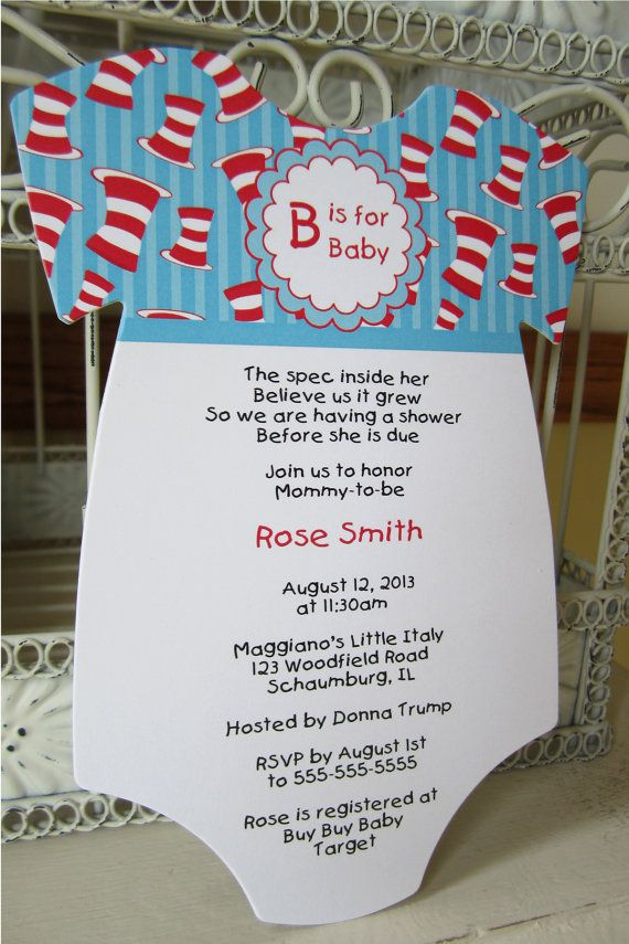 boy baby shower invitations australia%0A Dr Seuss Cat in the Hat Baby Shower by BeautifullyInviting on Etsy