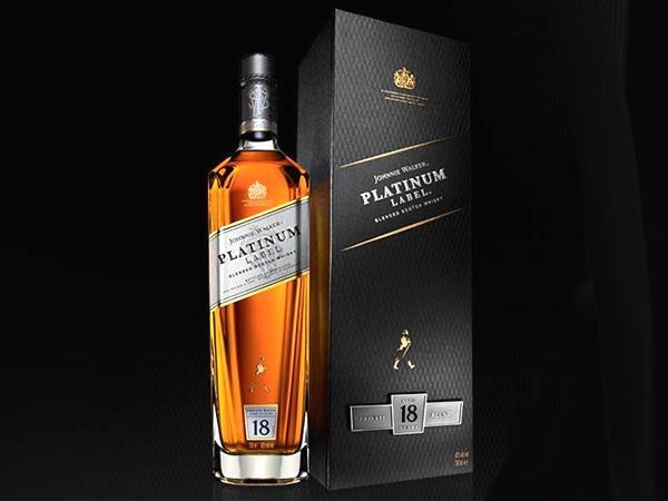 Johnnie Walker Platinum  This limited edition blend is the result of 18 year aged malt mixes from 20-25 Scottish distilleries, composed in former Sherry casks. Black Label meets Blue Label half way, to form yet another smooth and exotic Johnie Walker creation. Let's go back to the classics then.