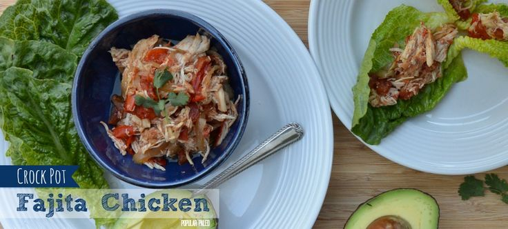 Easy crock pot cooking! This chicken recipe with classic fajita ingredients is about the easiest Paleo dinner you can throw together.