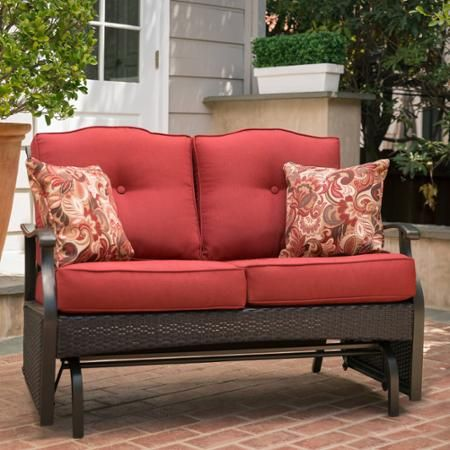 Better Homes and Gardens Providence Outdoor Glider Bench, Red, Seats 2 - Walmart.com