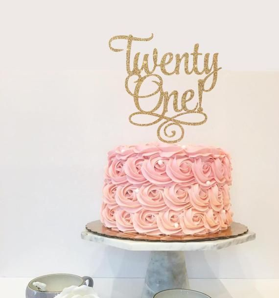 Twenty One 21st Birthday Custom Cake Topper for Party - Gold Glitter Cupcake and Cake Topper - Finally Legal, 21 Years Old, Twenty-One