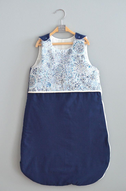 Gigoteuse Liberty Adelajda bleu/bleu marine et blanc - bébé garçon (ou mixte) : 0 à 9 mois. : Mode Bébé par lafabriquedesptitsbouts