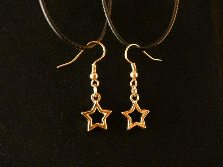 Stern Ohrringe 24 Karat Vergoldet Himmel Mond Star Charm Necklace Gold Hänger